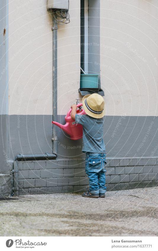 Small garden helper Drinking water Garden Arrange Parenting Kindergarten Child Schoolyard Agriculture Forestry Human being Masculine Toddler Boy (child) Infancy