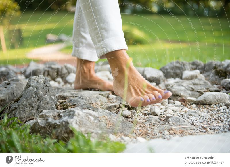 Human being Woman Nature Vacation & Travel Adults Environment Life Meadow Movement Feminine Lifestyle Healthy Garden Health care Stone Feet