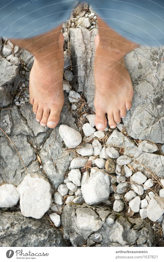 Barefoot on stones Beautiful Personal hygiene Body Pedicure Healthy Life Leisure and hobbies Summer Hiking To go for a walk Promenade Human being Masculine