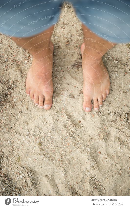 Barefoot in the sand Personal hygiene Pedicure Healthy Athletic Vacation & Travel Tourism Summer Beach Human being Masculine Young man Youth (Young adults)