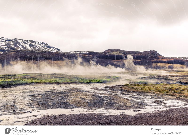 Boiling river in a landscape from Iceland in cloudy weather Vacation & Travel Tourism Island Mountain Nature Landscape Earth Sky Clouds Fog Hill Volcano Hot