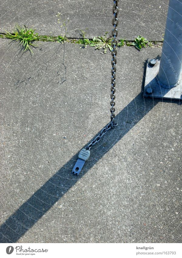Green Gray Metal Concrete Chain Silver Seam Pole Concrete slab Drop shadow Shadowy existence