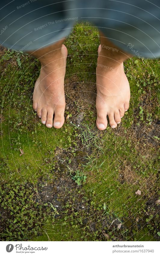 Young man stands barefoot on moss Pedicure Healthy Leisure and hobbies To go for a walk Freedom Summer Garden Human being Masculine Adults Life Feet 1