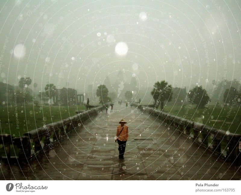 Human being Old Green Black Loneliness Dark Architecture Gray Park Rain Brown Going Walking Masculine Drops of water Manmade structures
