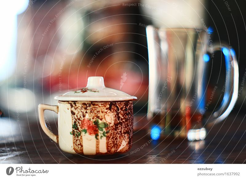 cup of coffee Beverage Hot drink Coffee Tea Cup Mug Glass Utilize Dirty Above White Moody Colour photo Close-up Deserted Day Shallow depth of field