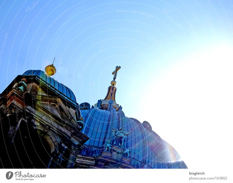 Berlin Cathedral Colour photo Exterior shot Deserted Copy Space right Copy Space top Neutral Background Day Light Back-light Worm's-eye view Sky Cloudless sky