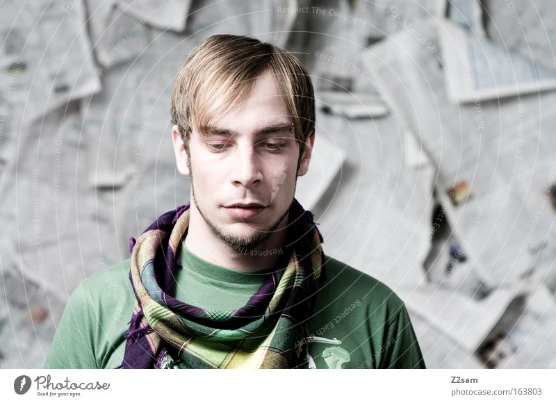 ME? Colour photo Studio shot Contrast Shallow depth of field Central perspective Downward Human being Masculine Young man Youth (Young adults) Man Adults Head