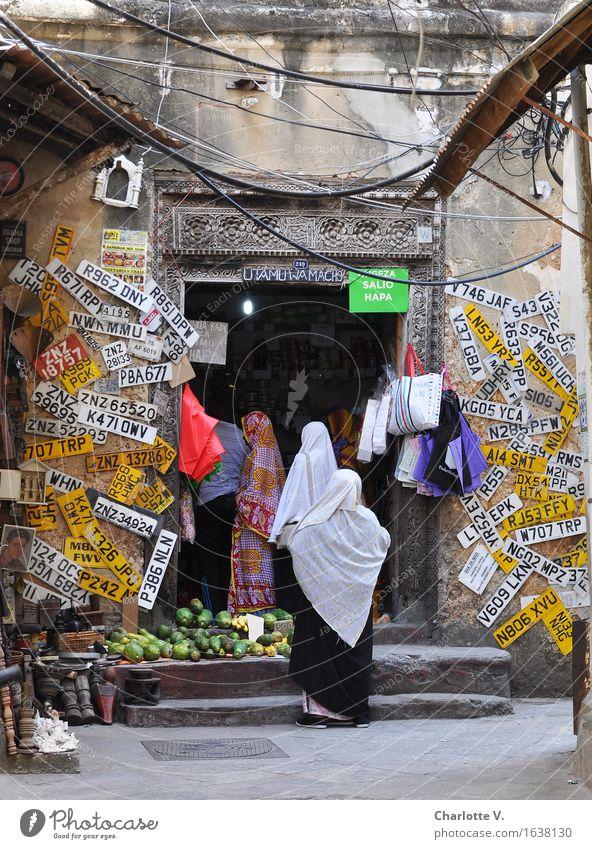sign wall Shopping Exotic Human being Feminine 3 Stone Town Zanzibar Tansania Africa Dira baibu Headscarf Vail Stand Wait Many Multicoloured Patient Queue