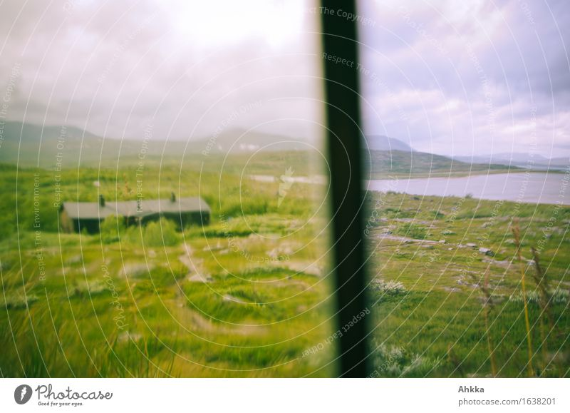 window look Grass Meadow Mountain Lake Hut Window Observe Green Loneliness Calm Change Division Focal point Pane Unclear Blur Looking Colour photo Multicoloured