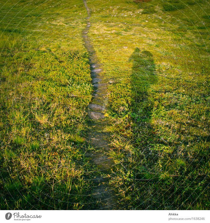Wrong ways II Vacation & Travel Trip Adventure Freedom Mountain Hiking Human being 1 Nature Landscape Grass Pedestrian Lanes & trails Green Beginning Effort