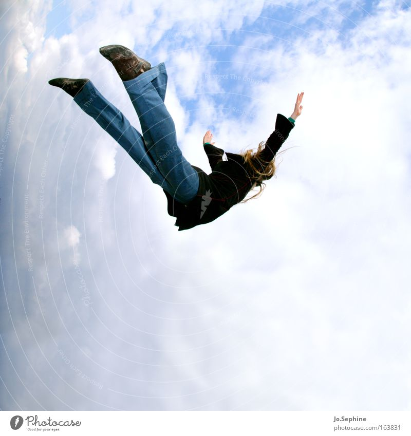 free fall Free Fall Nosedive Sudden fall To fall Flying Extreme sports skydiving Brave Thrill Risk High spirits Freedom Joy Liberate Crazy Dream Woman Adults