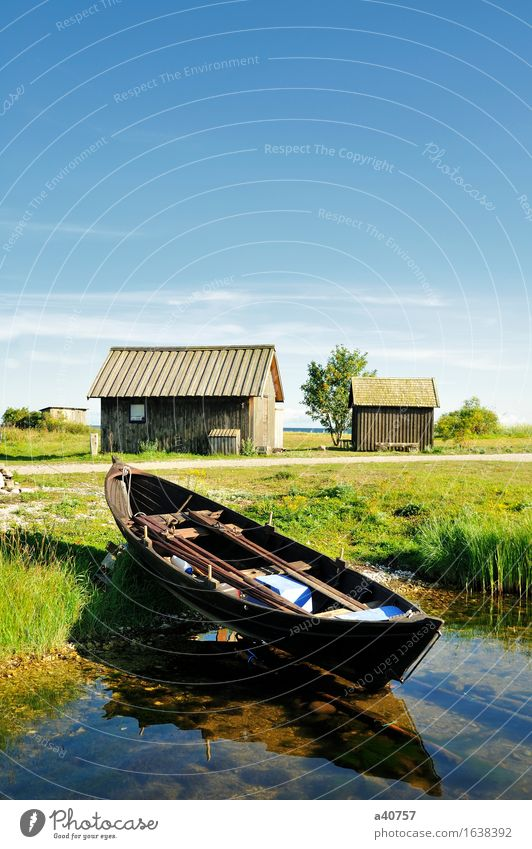 Fishing village Gotland Fishing boat Nautical Sweden House (Residential Structure) Hut Cottage Forest Architecture Beaded Material Wood strip Blue Green Sverige