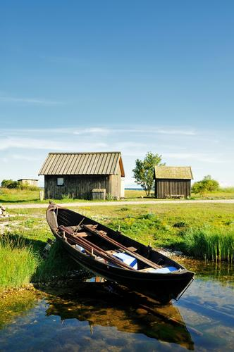 Fishing village Old Blue Green Summer Water Landscape House (Residential Structure) Forest Architecture Wood Hut Material Sweden Fishing boat Beaded