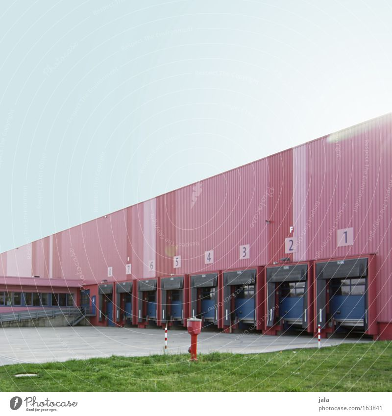 Blue Red Storage Building Industry Places Logistics Factory Truck Company Trade Industrial plant Cloudless sky Loading ramp Stock of merchandise