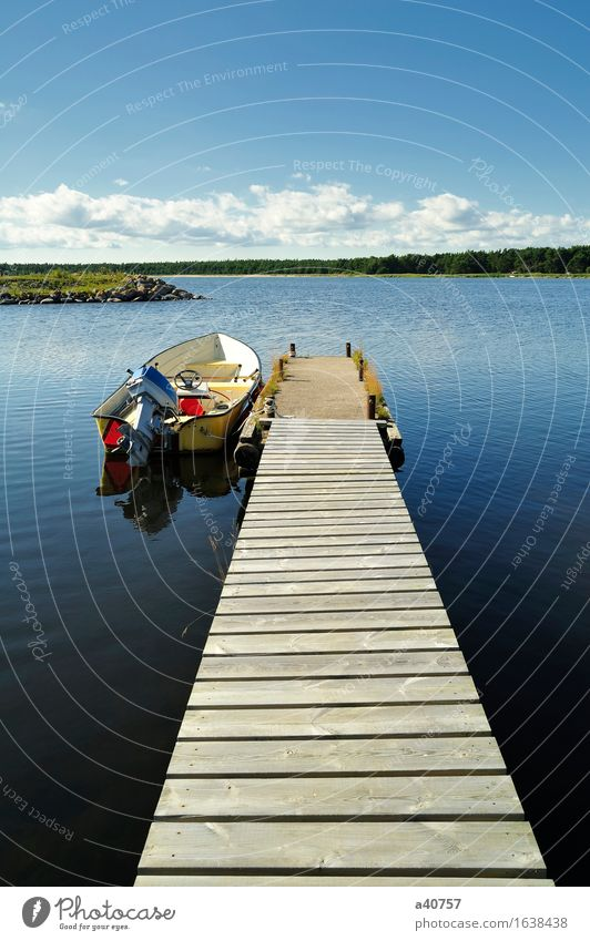 Sweden Lake Fishing (Angle) Nautical Jetty Fishing boat Summer Forest Outboard Motor Engines Sverige Gotland Water Sky Skyline