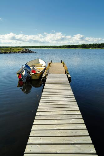 Sweden Summer Forest Lake Jetty Engines Fishing boat Nautical