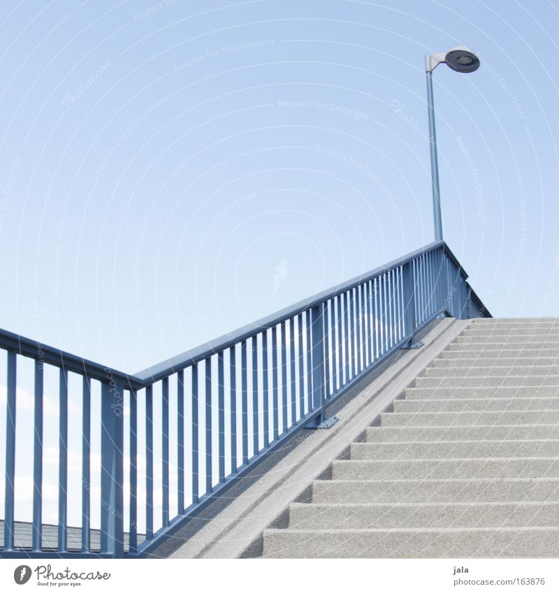 staircase Colour photo Exterior shot Deserted Day Cloudless sky Summer Beautiful weather Stairs Lantern Street lighting Going Tall Downward Upward Architecture