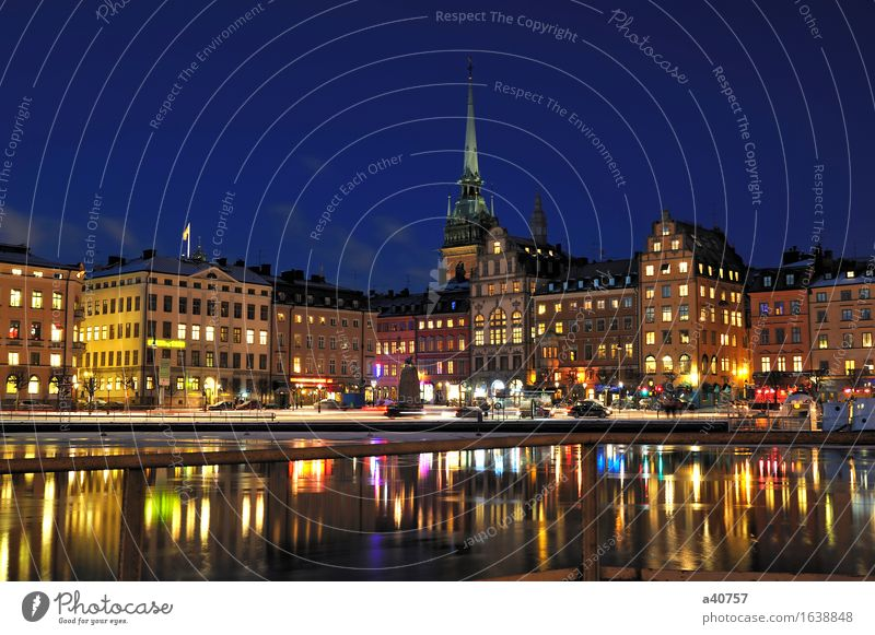 Gamla Stan in Stockholm Town City life Sweden Panorama (View) Night Built Structure Water Small Town Reflection Architecture Famousness Famous building Church