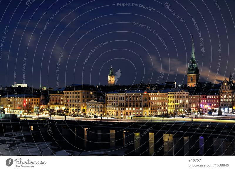 Gamla Stan in Stockholm Town City life Urban building Sweden Panorama (View) Night Built Structure Water Small Town Reflection Architecture Famousness Church