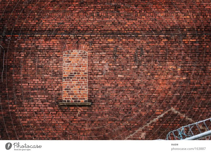 Old Red Loneliness House (Residential Structure) Dark Window Wall (building) Wall (barrier) Architecture Stone Background picture Facade Dirty