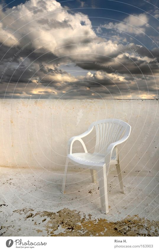 Sky White Blue Vacation & Travel Clouds Autumn Emotions Dream Sadness Contentment Wait Weather Empty Esthetic Chair Roof