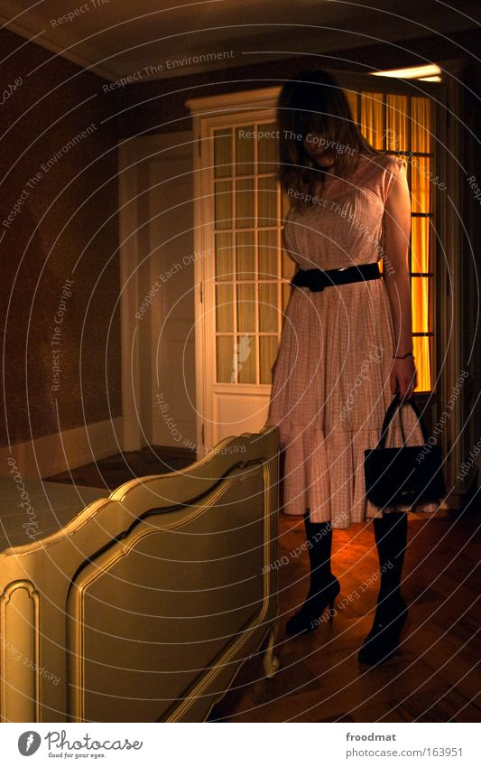 mysterious girl Colour photo Interior shot Copy Space left Evening Twilight Night Artificial light Long exposure Wide angle Full-length Downward Human being