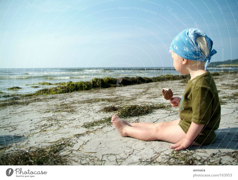 Ice cooled Colour photo Exterior shot Day Sunlight Sunbeam Looking away Joy Happy Playing Vacation & Travel Summer Summer vacation Beach Ocean Island Child