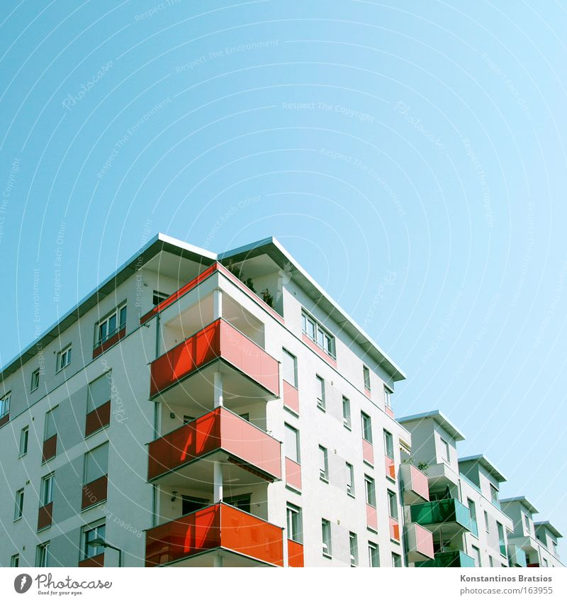 TRIGON CITY Colour photo Exterior shot Deserted Copy Space right Copy Space top Day Sunlight Cloudless sky Karlsruhe Town Outskirts Populated