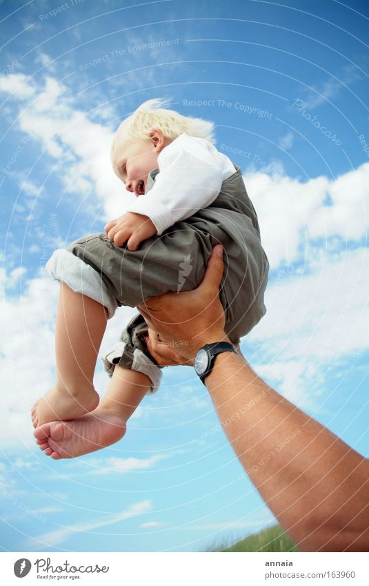 learning to fly Colour photo Exterior shot Sunlight Wide angle Full-length Profile Summer Child Baby Toddler Father Adults Family & Relations Infancy To hold on