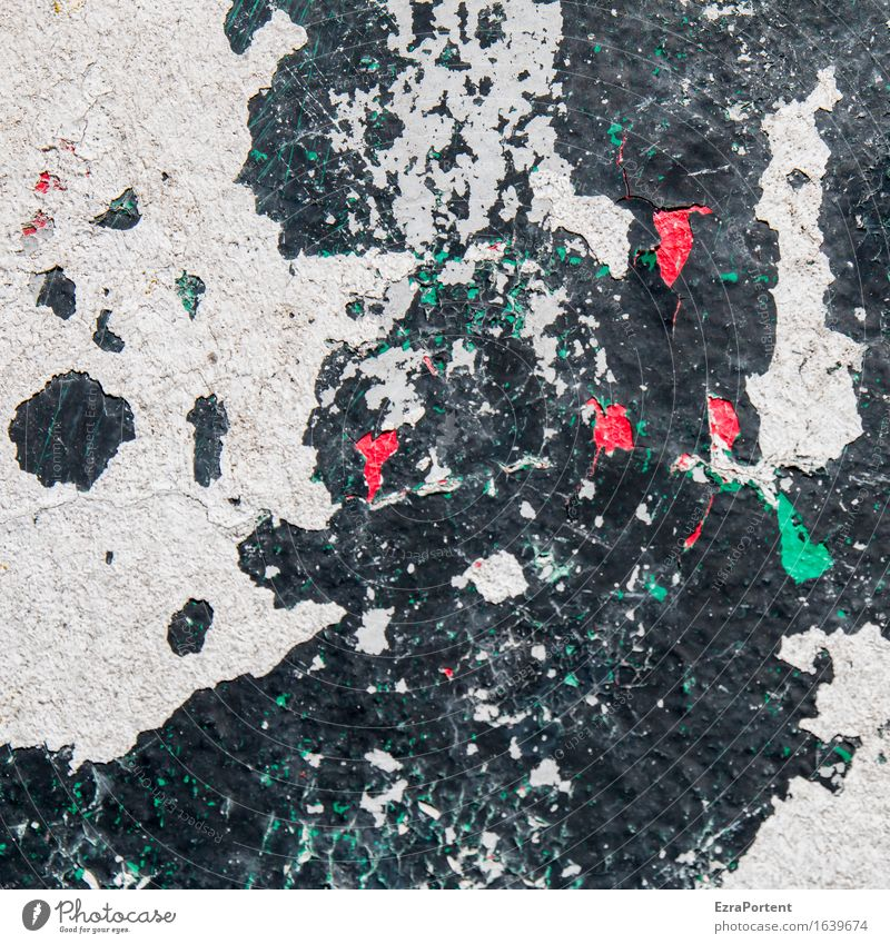 Colour layer wall white black red green Art Wall (barrier) Wall (building) Facade Stone Concrete Sign Wild Green Red Black White Design Map Layer of paint