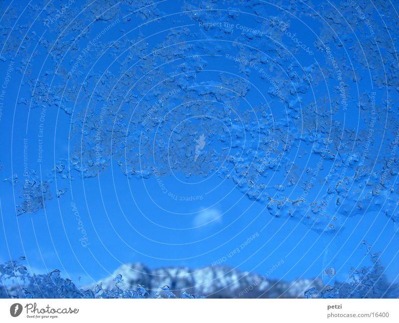 Sky Blue Mountain Window Dirty Ice Frozen Window pane Ice crystal Hail