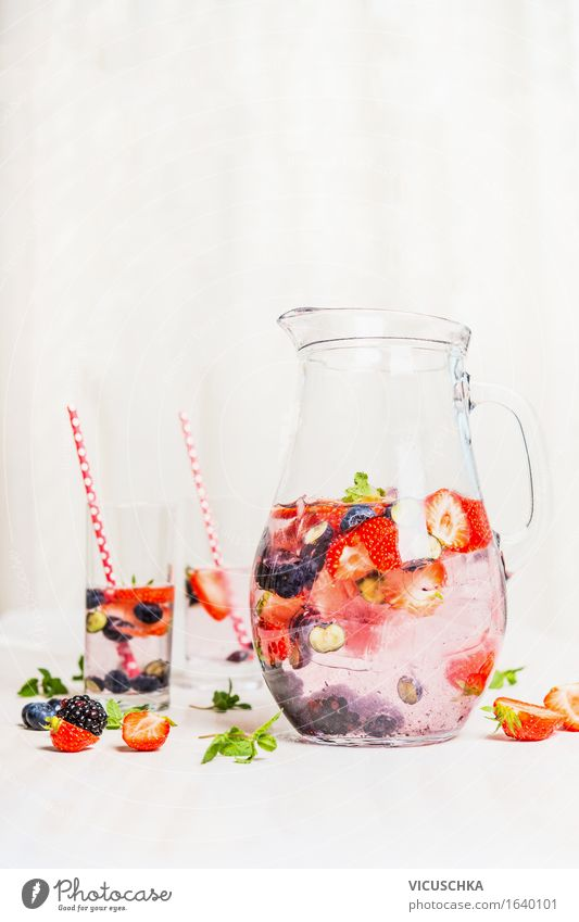 Summer Detox Drink with Berries Food Fruit Organic produce Vegetarian diet Diet Beverage Cold drink Drinking water Lemonade Juice Bottle Glass Style Design