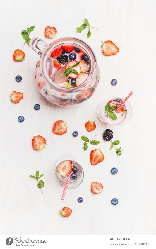 Summer Water Healthy Eating Life Style Food Design Fruit Glass Table Cool (slang) Beverage Organic produce Berries Vegetarian diet Diet