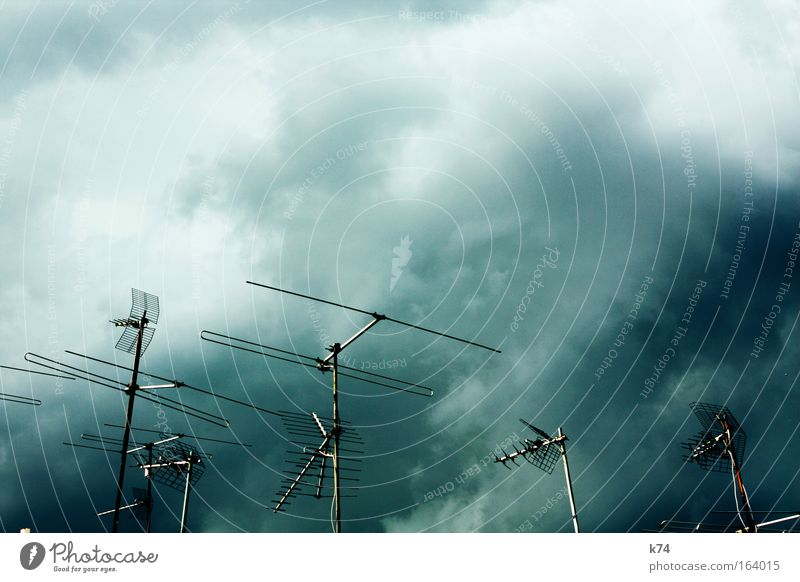 Sky Clouds Dark Rain Landscape Bright Fear Dangerous Roof Television Threat Analog Thunder and lightning Radio (broadcasting) Storm Antenna