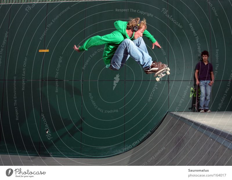 Frontside 180 Colour photo Exterior shot Flash photo Central perspective Forward Sports action sports Skateboard Halfpipe Contentment Joy