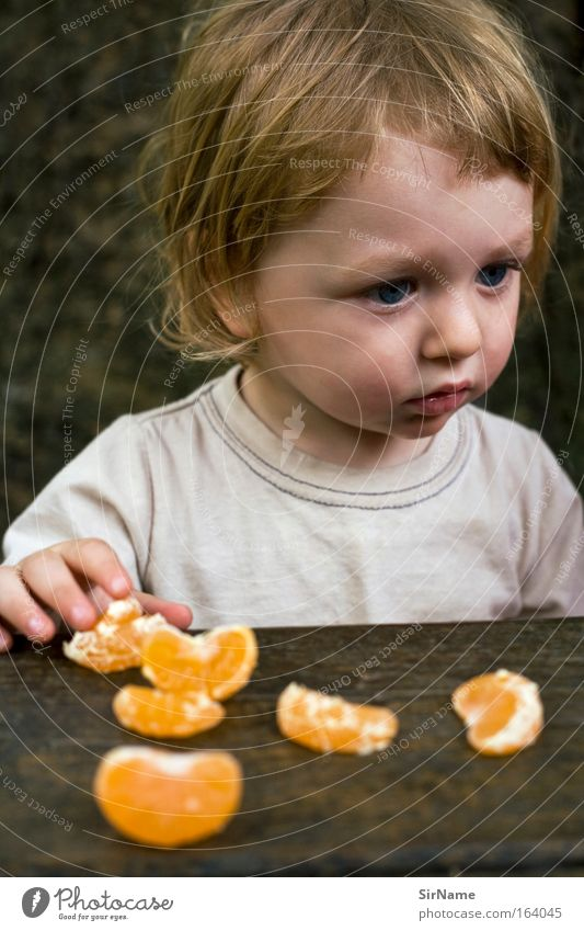 94 [mandarin eater] Fruit Eating Organic produce Finger food Child Gastronomy Boy (child) 1 - 3 years Toddler T-shirt Blonde Feeding Looking Growth Authentic