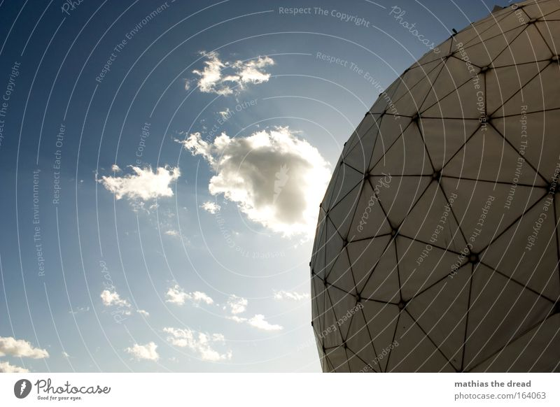 VI Colour photo Exterior shot Deserted Day Light Shadow Contrast Silhouette Sunlight Sunbeam Worm's-eye view Radar station Technology Science & Research