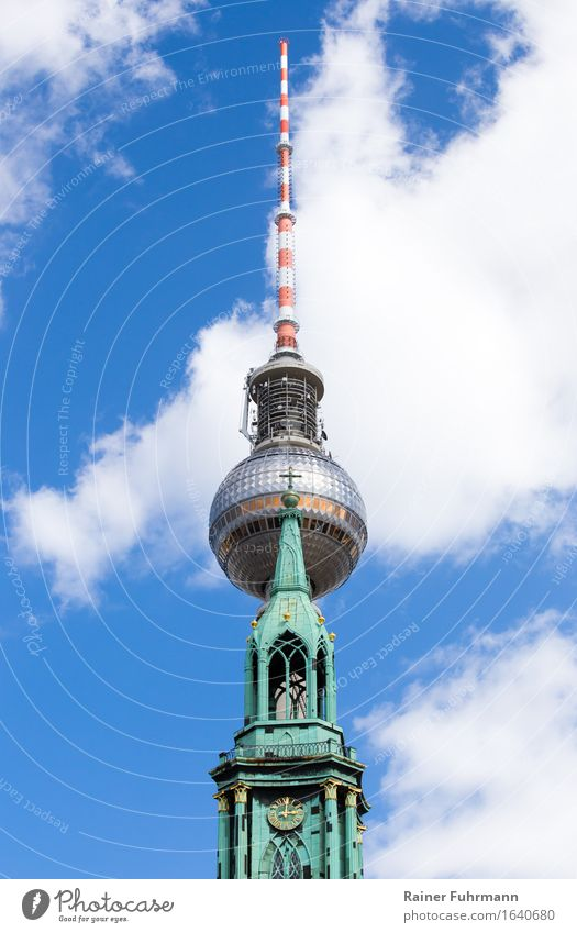 "The Television Tower and the Marienkirche in Berlin ""berlin Berlin-Mitte"" Germany Europe Town Capital city Church Antenna Symmetry ""Television tower telespargel"