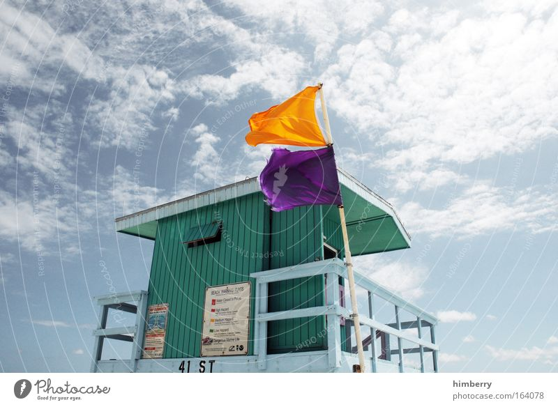 Sky Vacation & Travel Summer Clouds Architecture Style Building Signs and labeling Design Fresh Climate Safety Signage Flag Manmade structures