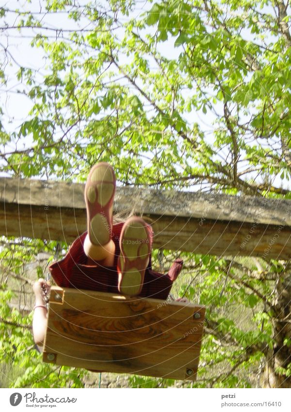 Human being Child Footwear Legs Tall Wooden board Swing