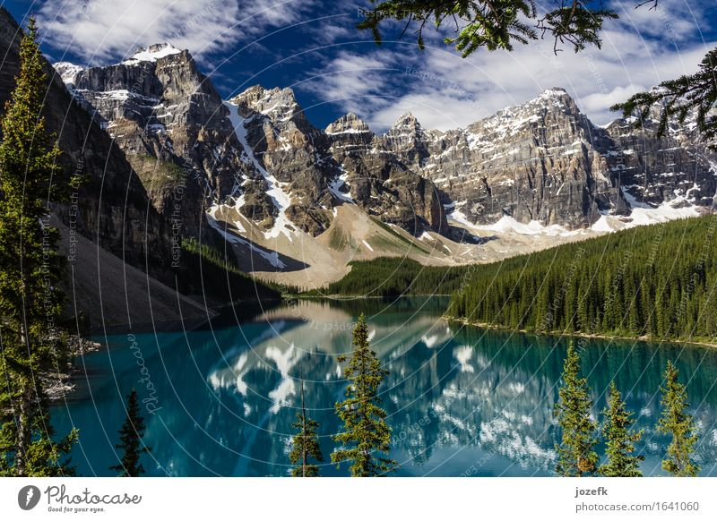 Sunny Day At Moraine Lake Vacation & Travel Tourism Summer vacation Mountain Hiking Nature Landscape Sky Clouds Tree Forest Rock Rocky Mountains Glacier