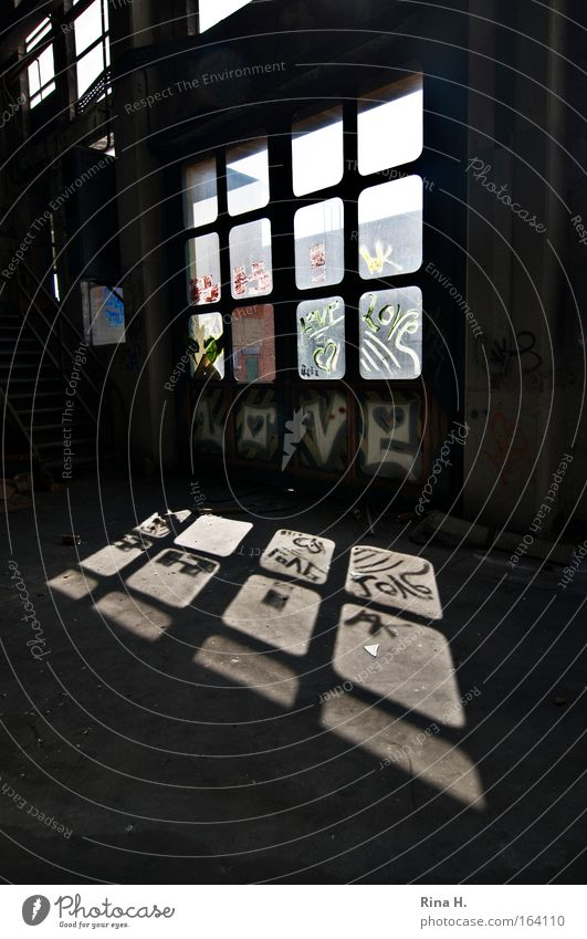 L O V E Subdued colour Interior shot Deserted Copy Space right Copy Space bottom Day Light Shadow Reflection Sunlight Factory Ruin Building Wall (barrier)