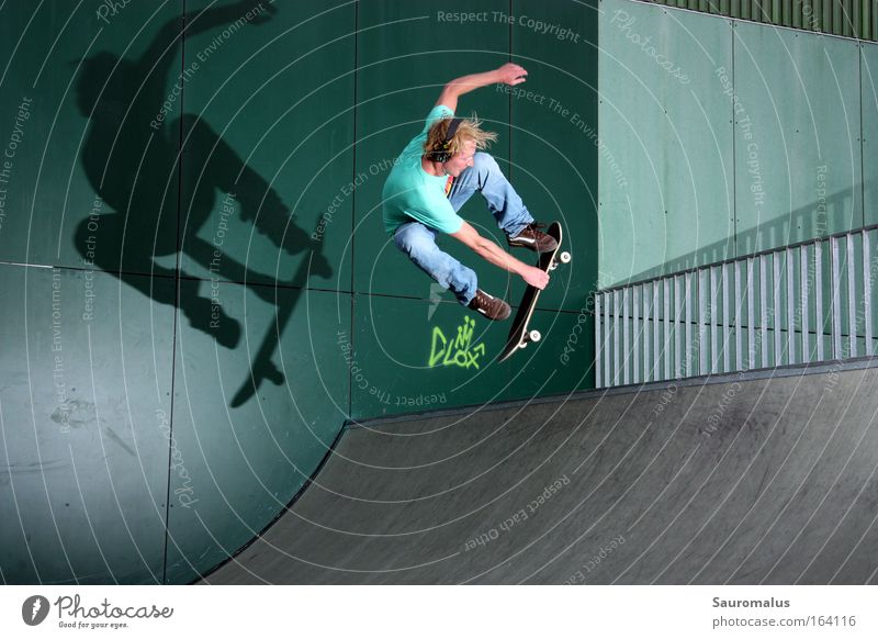 Shadow plays 2 Colour photo Day Flash photo Central perspective Downward Funsport Skateboard Halfpipe miniramp Sports