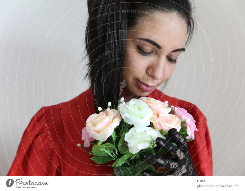 GizzyLovett Feminine 1 Human being Flower Bouquet Dress Gloves Black-haired Long-haired Braids To hold on Dream Beautiful Emotions Contentment Passion Trust