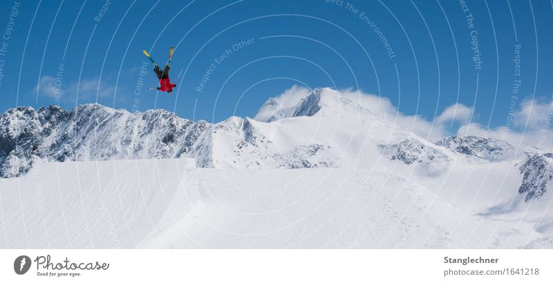flipping Sportsperson Skiing Sporting Complex Ski run Fun park Ski jump Landscape Sky Sun Beautiful weather Ice Frost Snow Mountain Peak Snowcapped peak Glacier