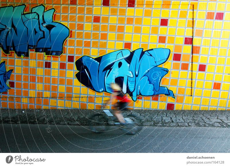 Human being Blue Red Yellow Street Wall (building) Movement Wall (barrier) Bicycle Characters Driving Painting and drawing (object) Tunnel Sports Training