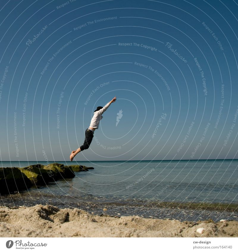 Human being Man Nature Youth (Young adults) Water Vacation & Travel Summer Beach Joy Adults Far-off places Landscape Playing Freedom Sand Jump