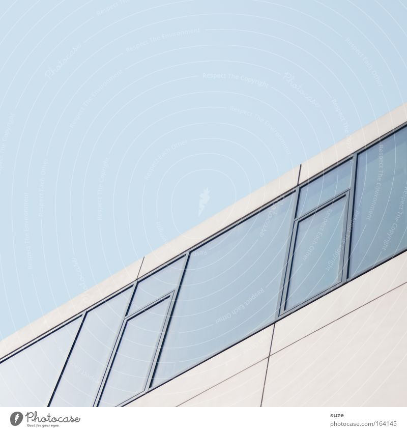 Blue White Window Architecture Building Line Glass Facade Concrete Modern Future High-rise Academic studies New Simple Bank building