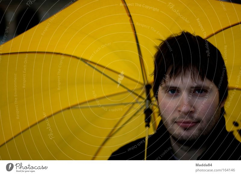 Under the umbrella Colour photo Exterior shot Copy Space left Day Shallow depth of field Portrait photograph Looking into the camera Human being Masculine Man