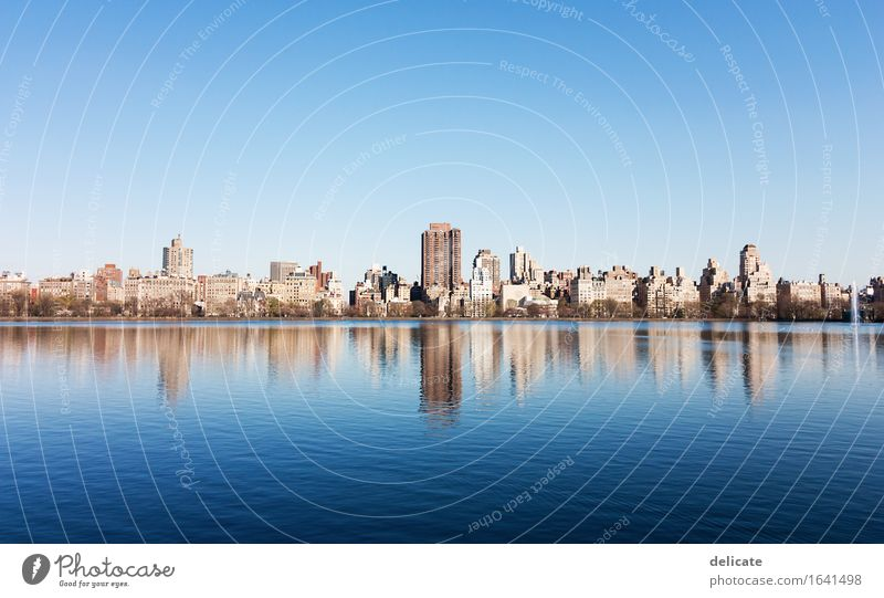 central park Environment Nature Water Sky Cloudless sky Spring Beautiful weather Park Lake New York City USA Town Capital city Manmade structures Building